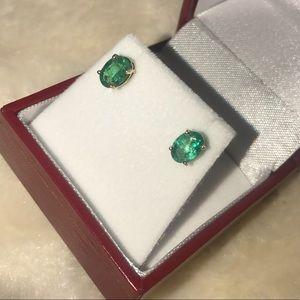 Jewelry - 💯 14K Zambian Emerald 1.20ct YG Stud Earrings